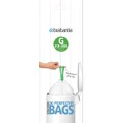 BRABANTIA PERFECTFIT BAGS, CODE G, 23-30 LITRE, 20 BAGS PER ROLL - WHITE