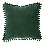 CUSHION WITH POMPON 40X40CM GREEN
