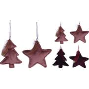 ELEGANCE (THEMA) HANGDECO STAR/TREE 16CM 4ASS