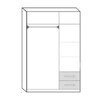 WARDROBE 3 DOORS + 2 DRAWERS GLORY WHITE
