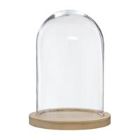GLASS DOME W/WOODEN BASE H26