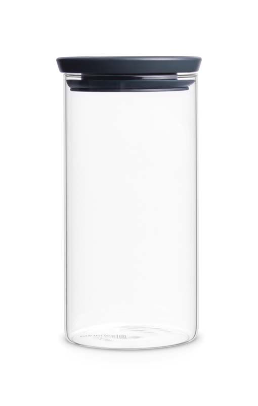 BRABANTIA STACKABLE GLASS JAR, 1.1 LITRE - DARK GREY