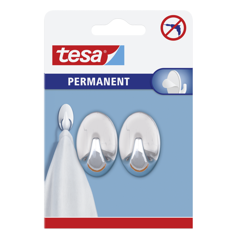 TESA 2PCS HOOK OVAL SILVER S