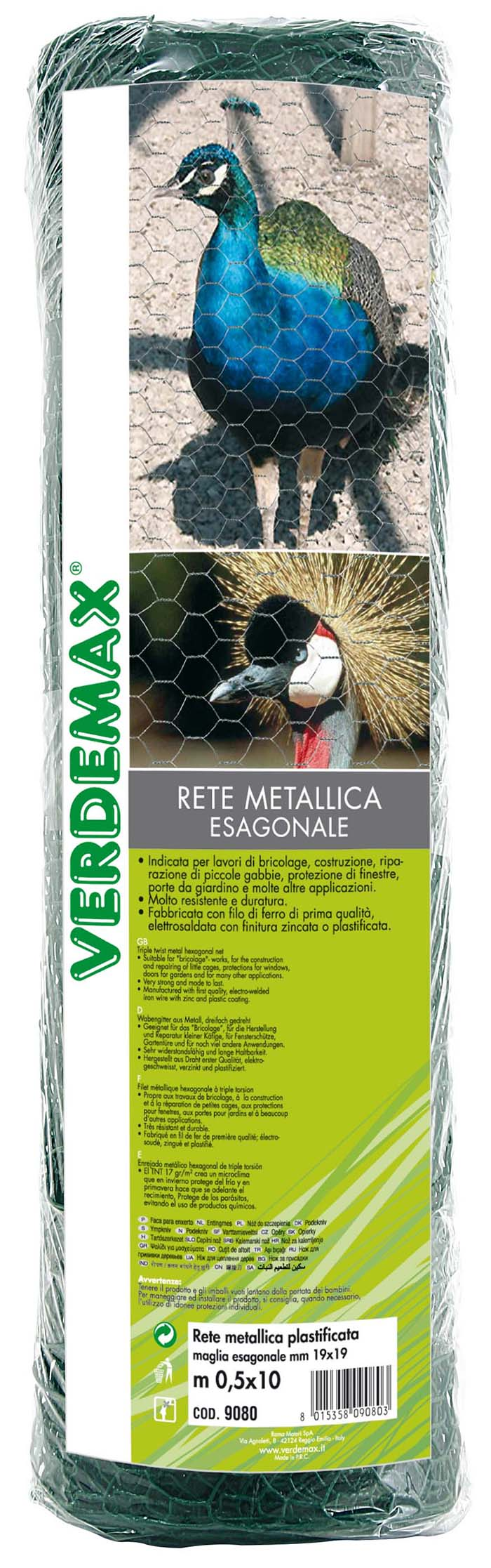 VERDEMAX METAL HEXAGONAL NET 0.5X10 GRN